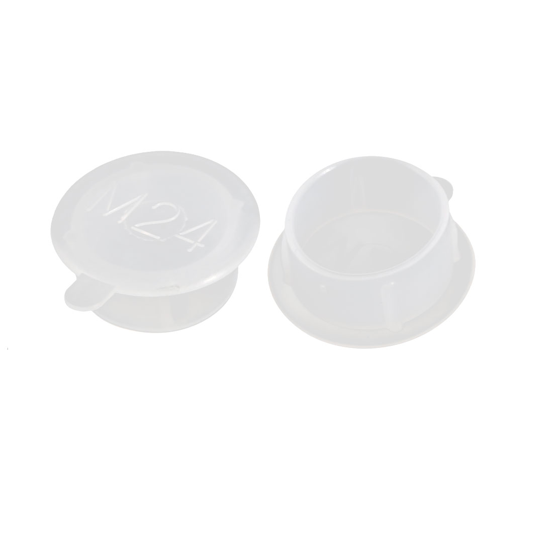 2pcs M24 PE Flat Blanking End Tube Insert Cap Round Cover Transparent