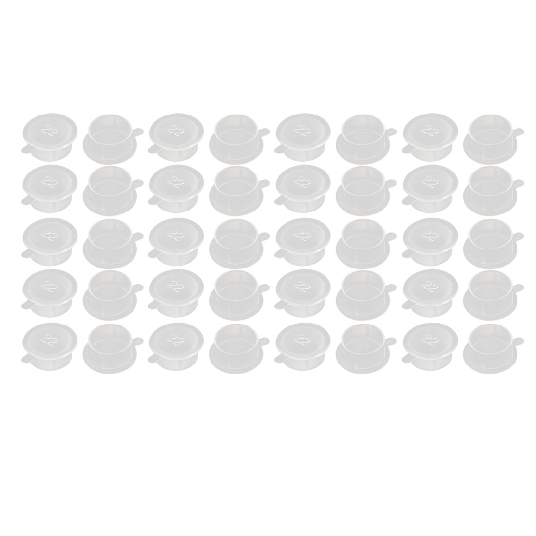 40pcs M22 PE Flat Blanking End Tube Insert Cap Round Cover Transparent