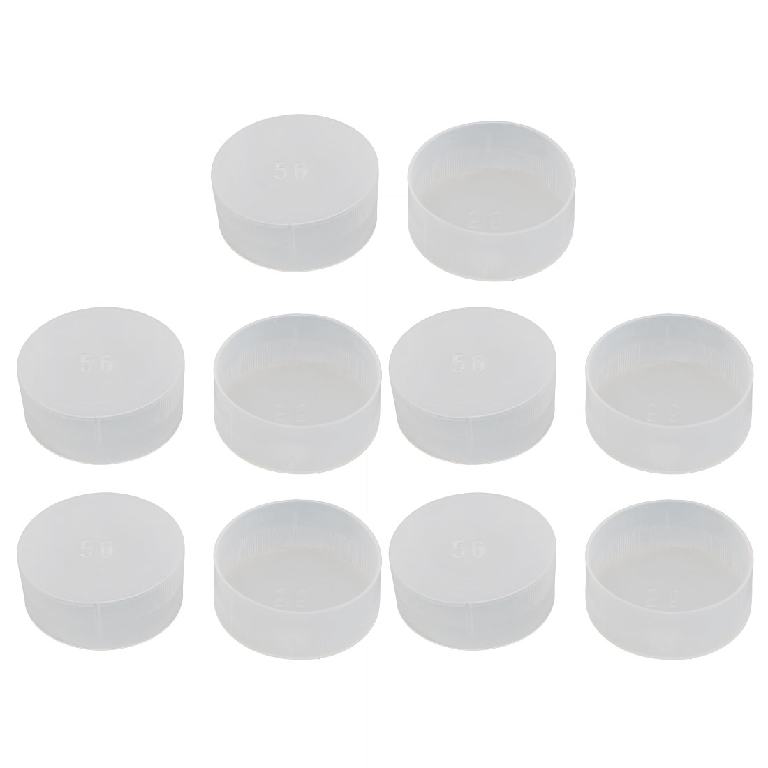 10pcs M56 White Plastic Thread Round Cabinet Chair Leg Insert Cover Protector