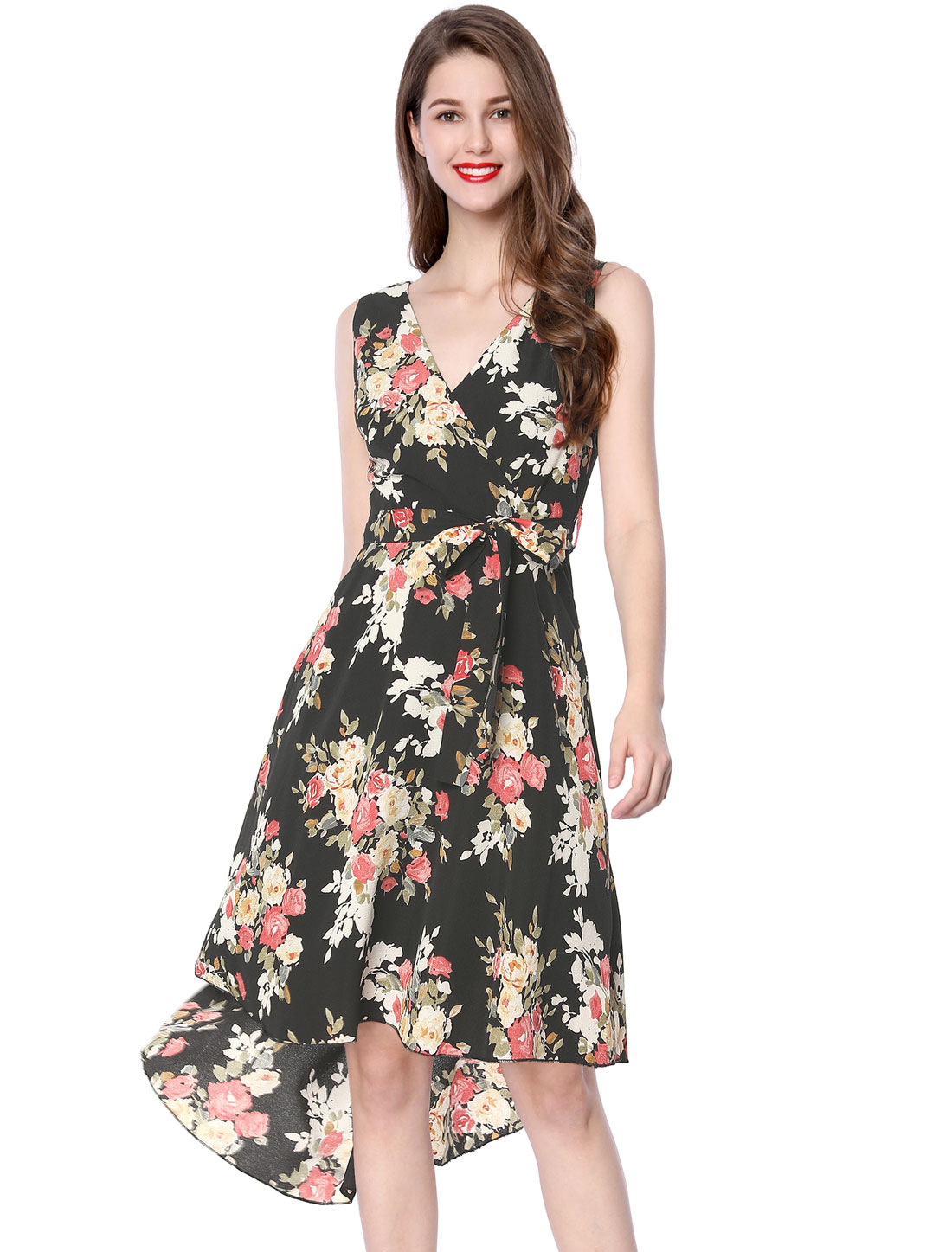 Allegra K Women Crossover V-Neck Belted Asymmetric Hem Floral Dress Black S