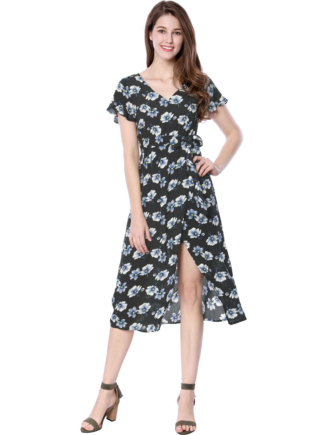 Allegra K Women V-Neck Front Slit Floral Print Midi Dress w Belt Black M