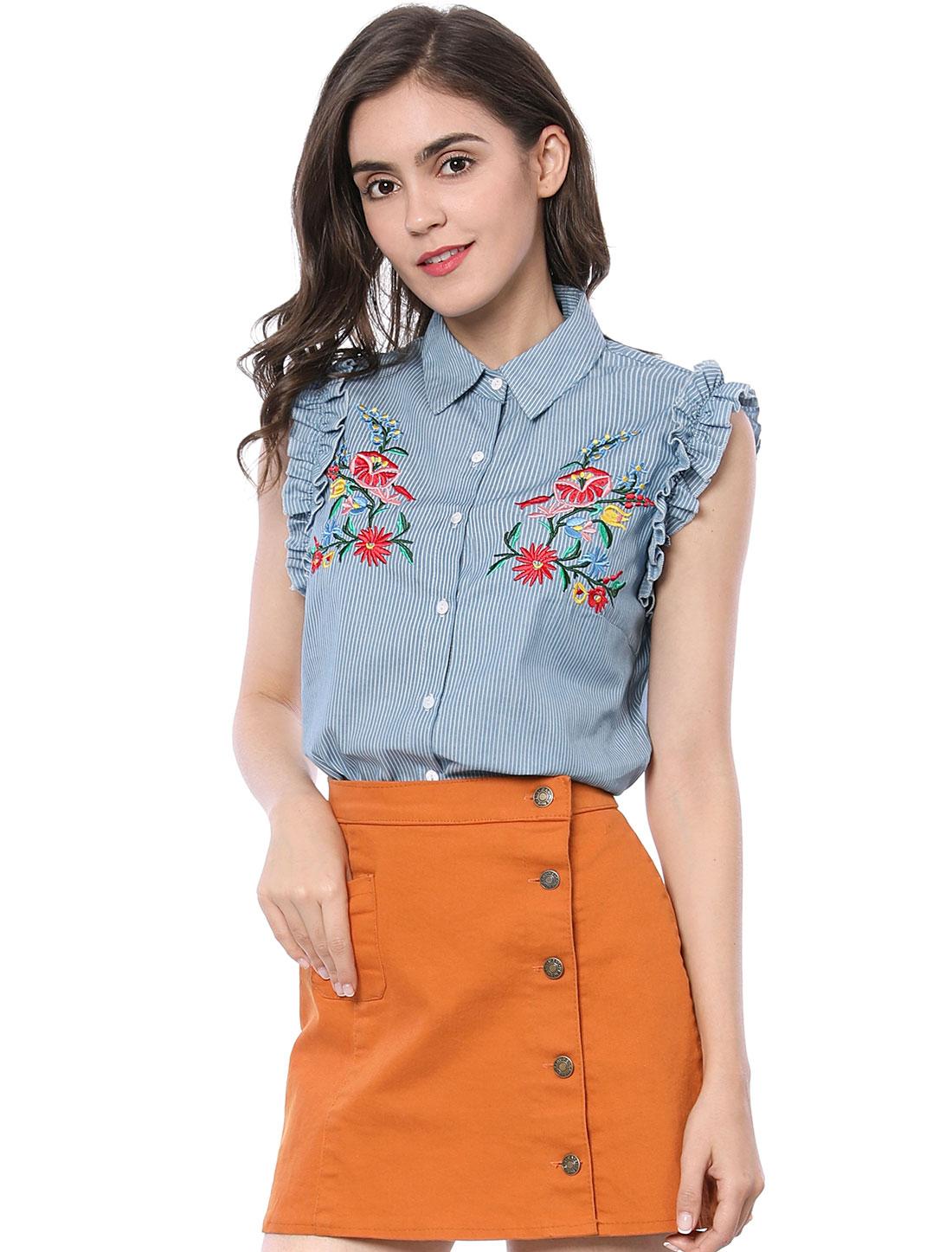 Allegra K Women Ruffle Striped Floral Embroidery Button Down Shirt Blue XL