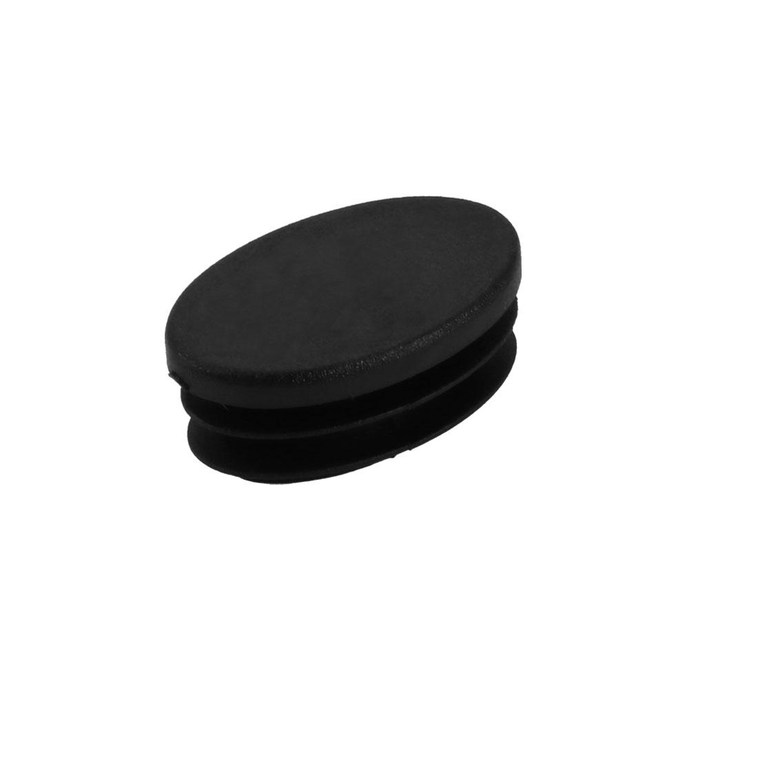 Furniture Foot Protector Desk Chair Oval Leg Tip Cap 42mmx26mmx19mm Black