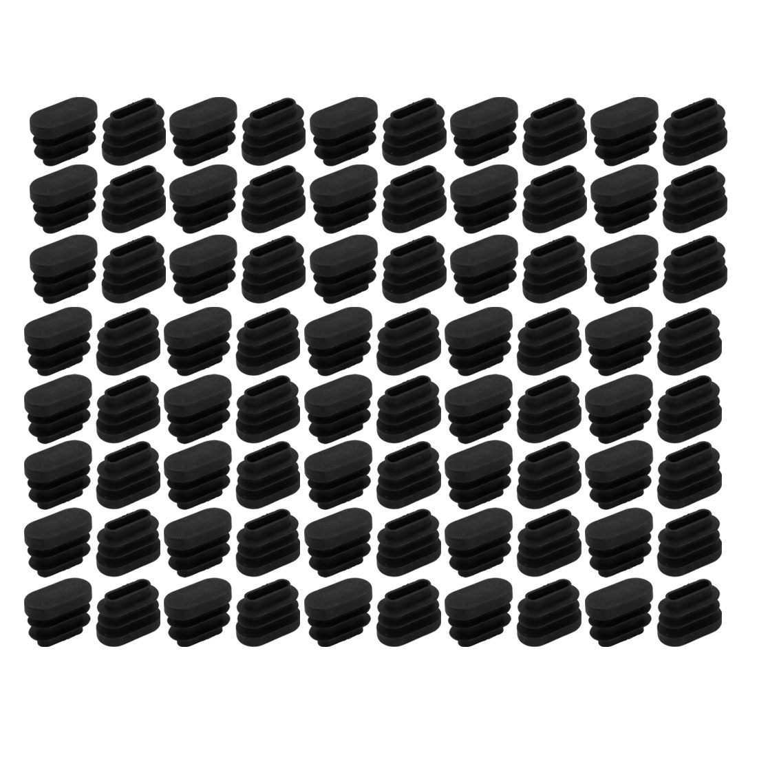 80pcs Furniture Accessory Desk Chair Oval Leg Tip Cap 20mmx10mmx14.5mm Black