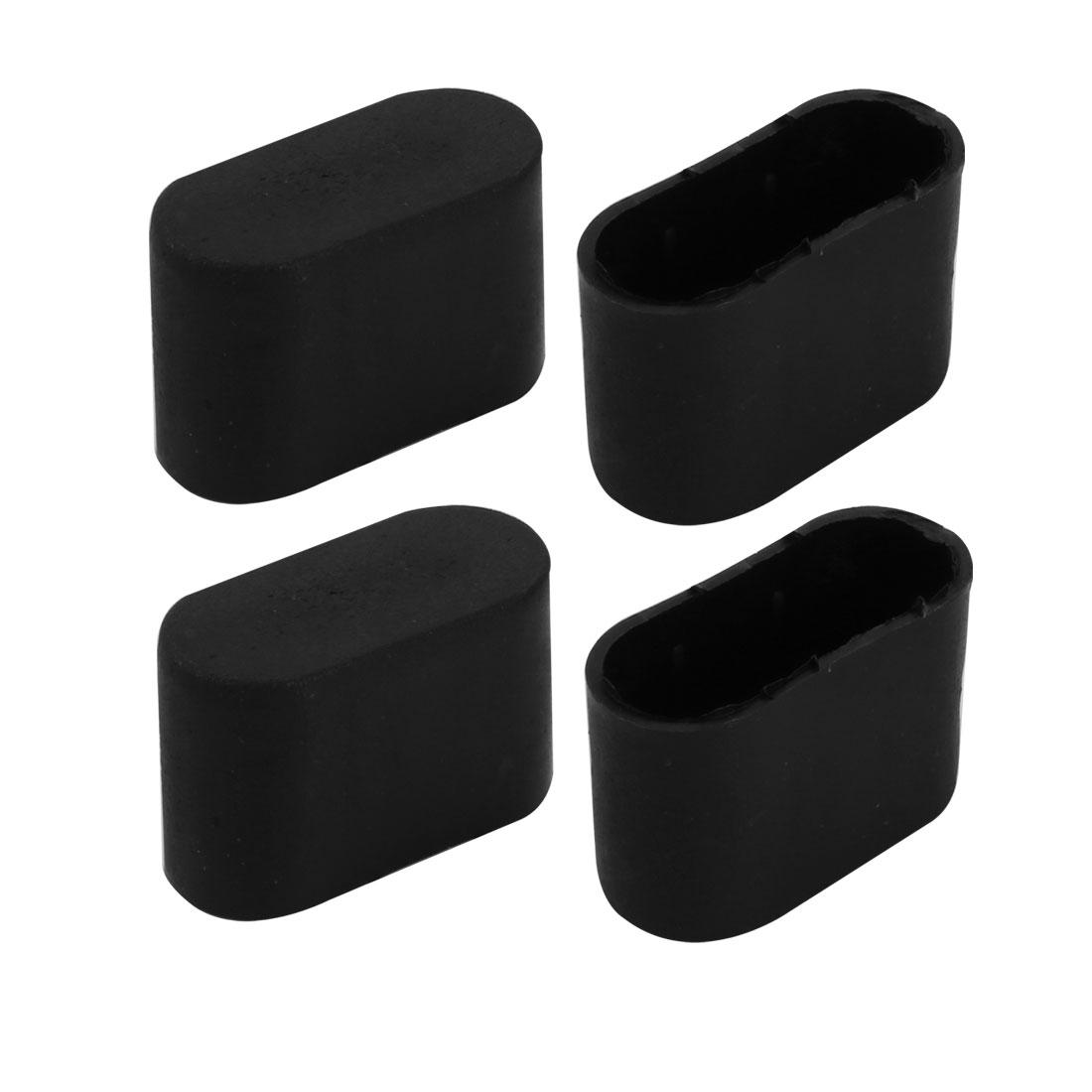 4pcs Furniture Desk Chair Foot Oval Plastic Tip Cap Fit for 34mmx14mm Leg Black