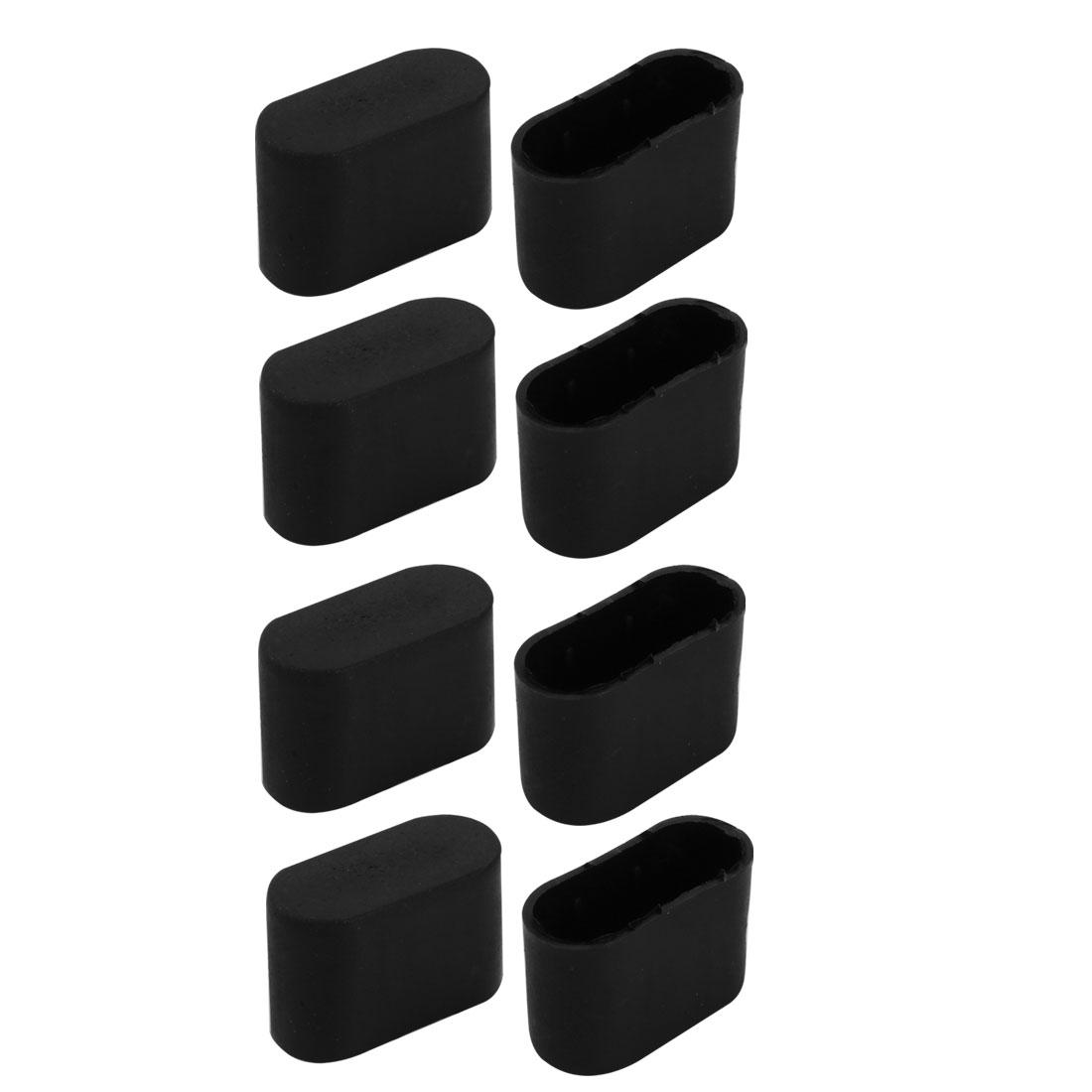 8pcs Furniture Desk Chair Foot Oval PlasticTip Cap Fit for 34mmx14.5mm Leg Black