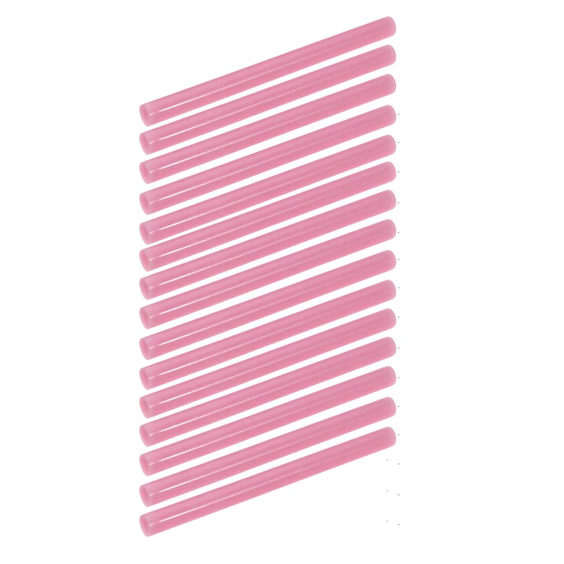 15pcs 7mm Dia 100mm Long Hot Melt Glue Adhesive Stick Light Pink