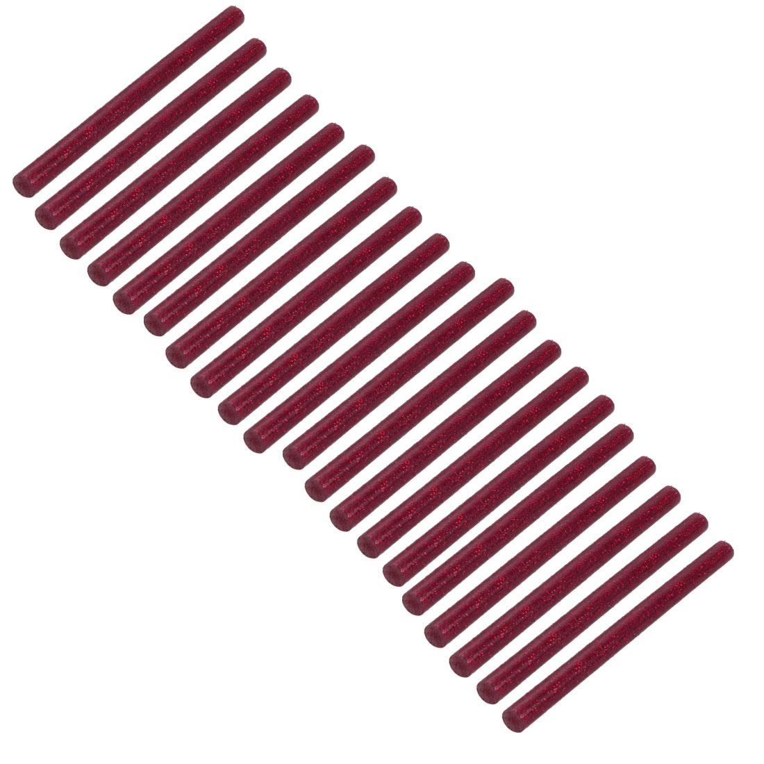 20pcs 7mm Dia 100mm Long Hot Melt Glue Adhesive Stick Shinning Red