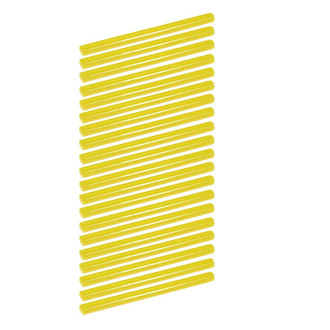 20pcs 7mm Dia 100mm Long Hot Melt Glue Adhesive Stick Yellow