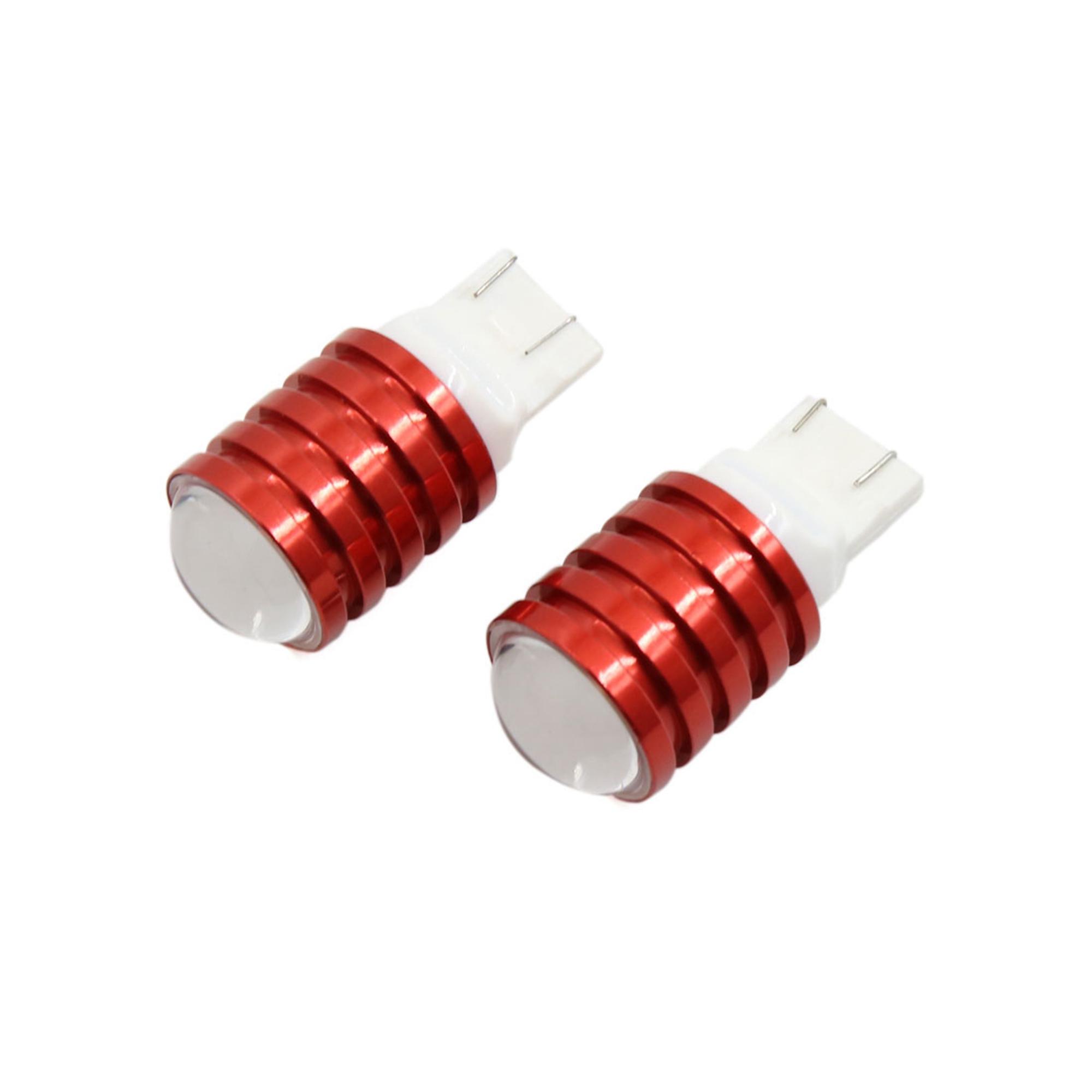 2Pcs T20 7440 7443 White COB LED Projector Lens Car Brake Reverse Light