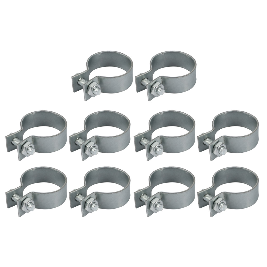 10pcs 40mm Fitting Dia 20mm Width Iron Zinc Plated Pipe Clamp w Screw Nut