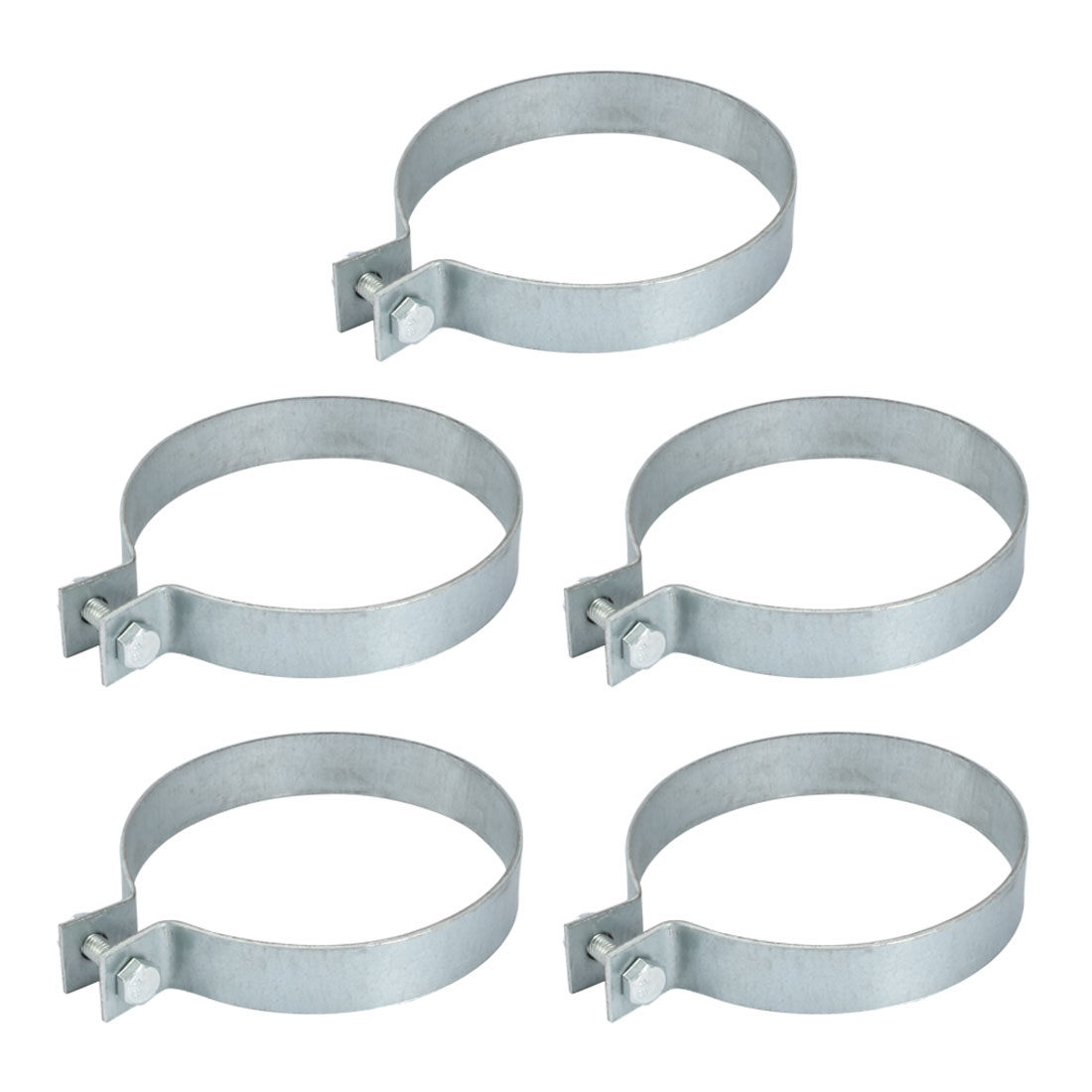 5pcs 110mm Fitting Dia 22.5mm Width Iron Zinc Plated Pipe Clamp w Screw Nut