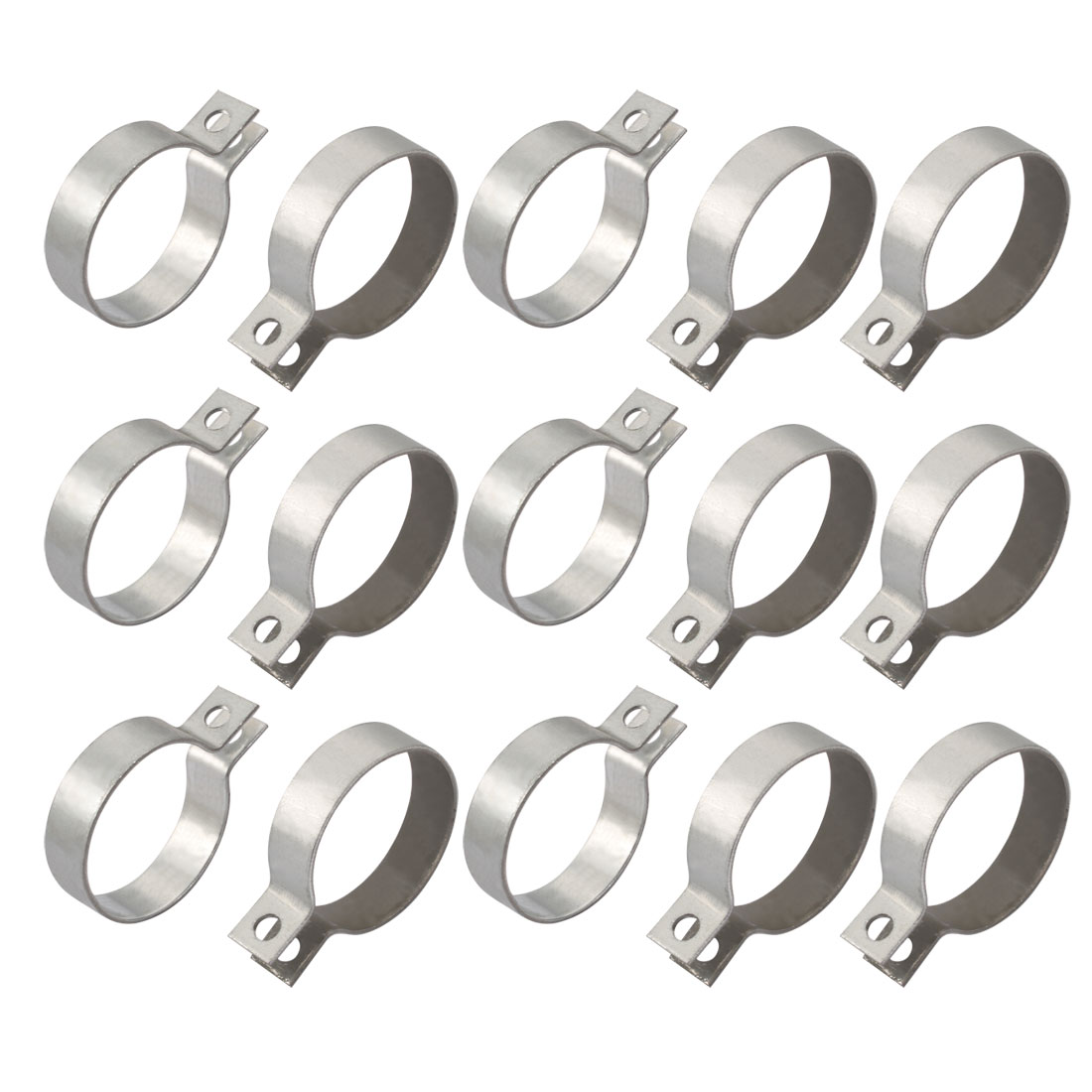 15pcs 50mm Fitting Dia Iron Zinc Plated Pipe Clamp w Screws Nuts