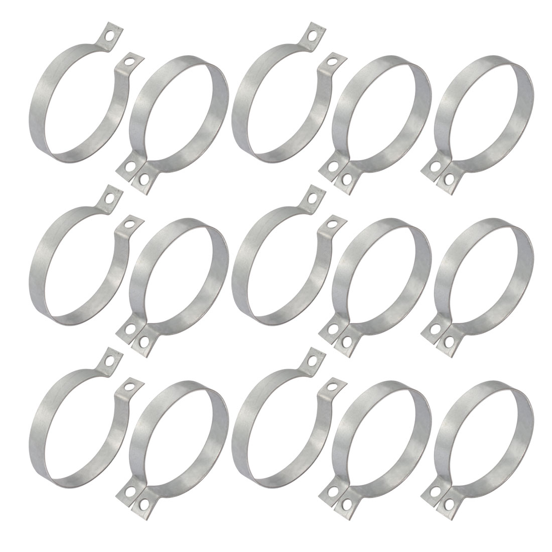 15pcs 76mm Fitting Dia Iron Zinc Plated Pipe Clamp w Screws Nuts