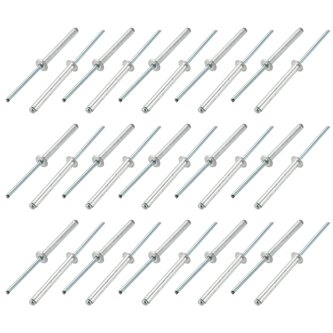 30 Pcs 4mm x 35mm Aluminum/Steel Open End Blind Rivets