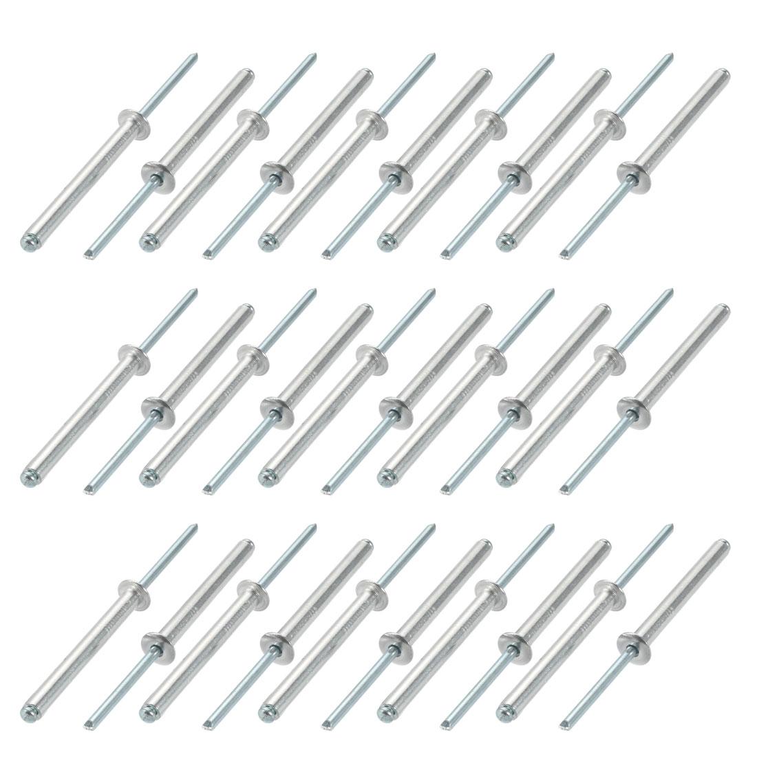 30 Pcs 5mm x 45mm Aluminum/Steel Open End Blind Rivets