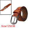 "Men Hollow Rectangle Pattern Fashionbale Casual Leather Belt Width 1 1/4"" Chocolate 125cm"