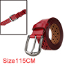 """Men Hollow Rectangle Pattern Fashionbale Casual Leather Belt Width 1 1/4"""" Red 115cm"""
