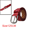 """Men Hollow Rectangle Pattern Fashionbale Casual Leather Belt Width 1 1/4"""" Red 125cm"""
