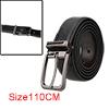 "Men Classic Single Pin Buckle Stylish Business Casual Leather Belt Width 1 1/4"" Black 110cm"
