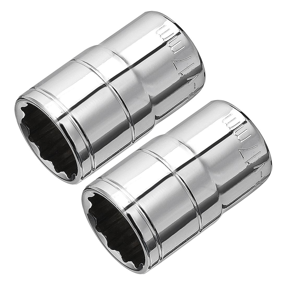 2Pcs 1/2-inch Drive 17mm Cr-V 12-Point Shallow Socket