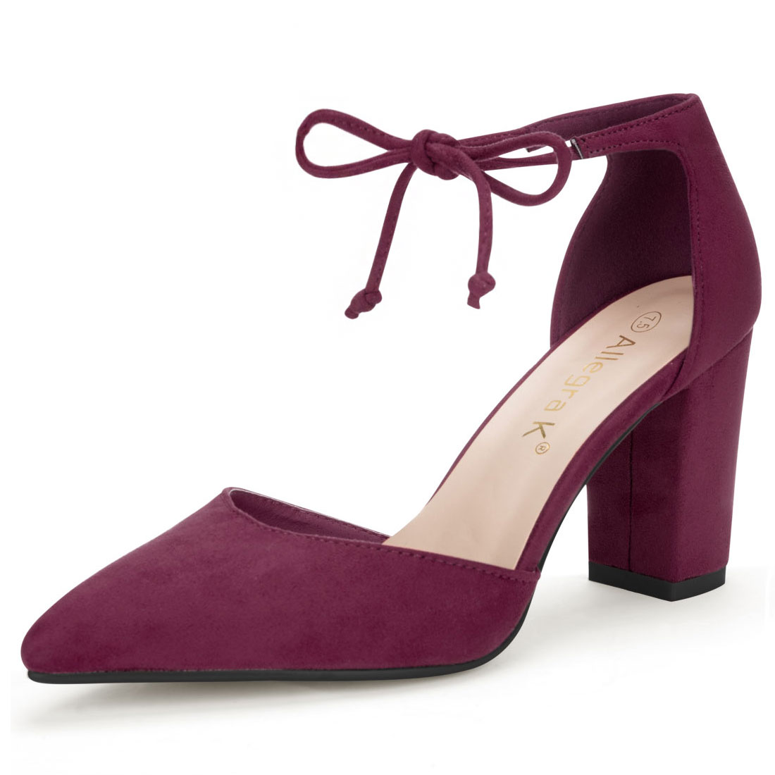 Allegra K Women's Ankle Tie Chunky Heel Pointed Toe Dress Pumps Burgundy US 7