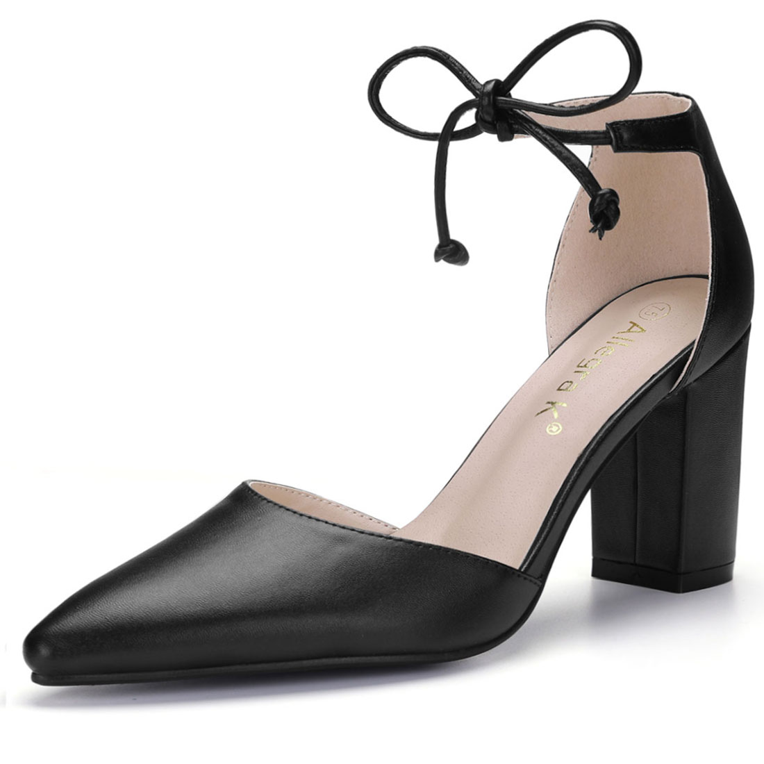 Allegra K Women's Ankle Tie Chunky Heel Pointed Toe Dress Pumps Black US 10