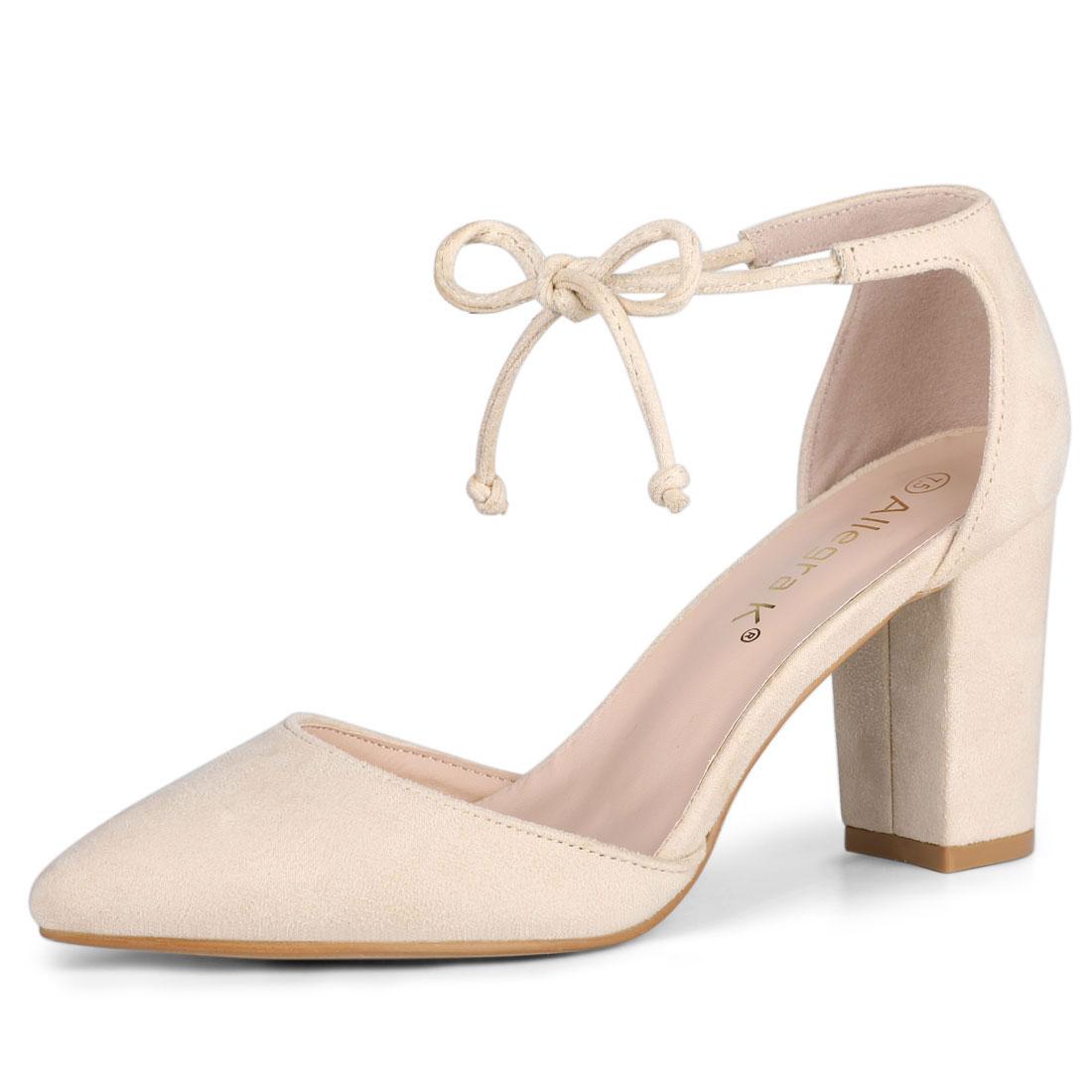 Allegra K Women's Ankle Tie Chunky Heel Pointed Toe Dress Pumps Beige US 7.5