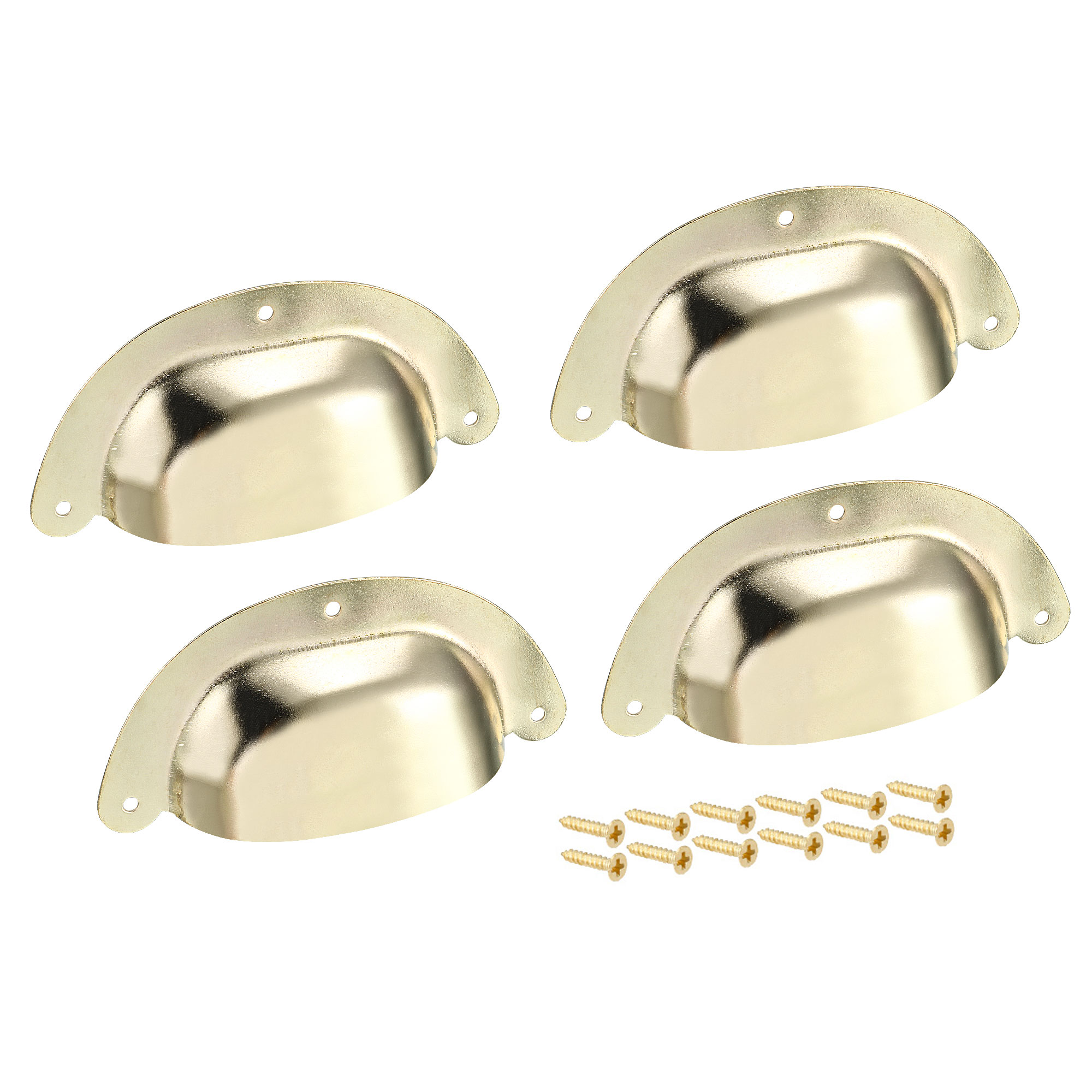 Cup Drawer Pull Kitchen Cabinet Handles Gold Tone, 88mm Hole Centers, 4pcs