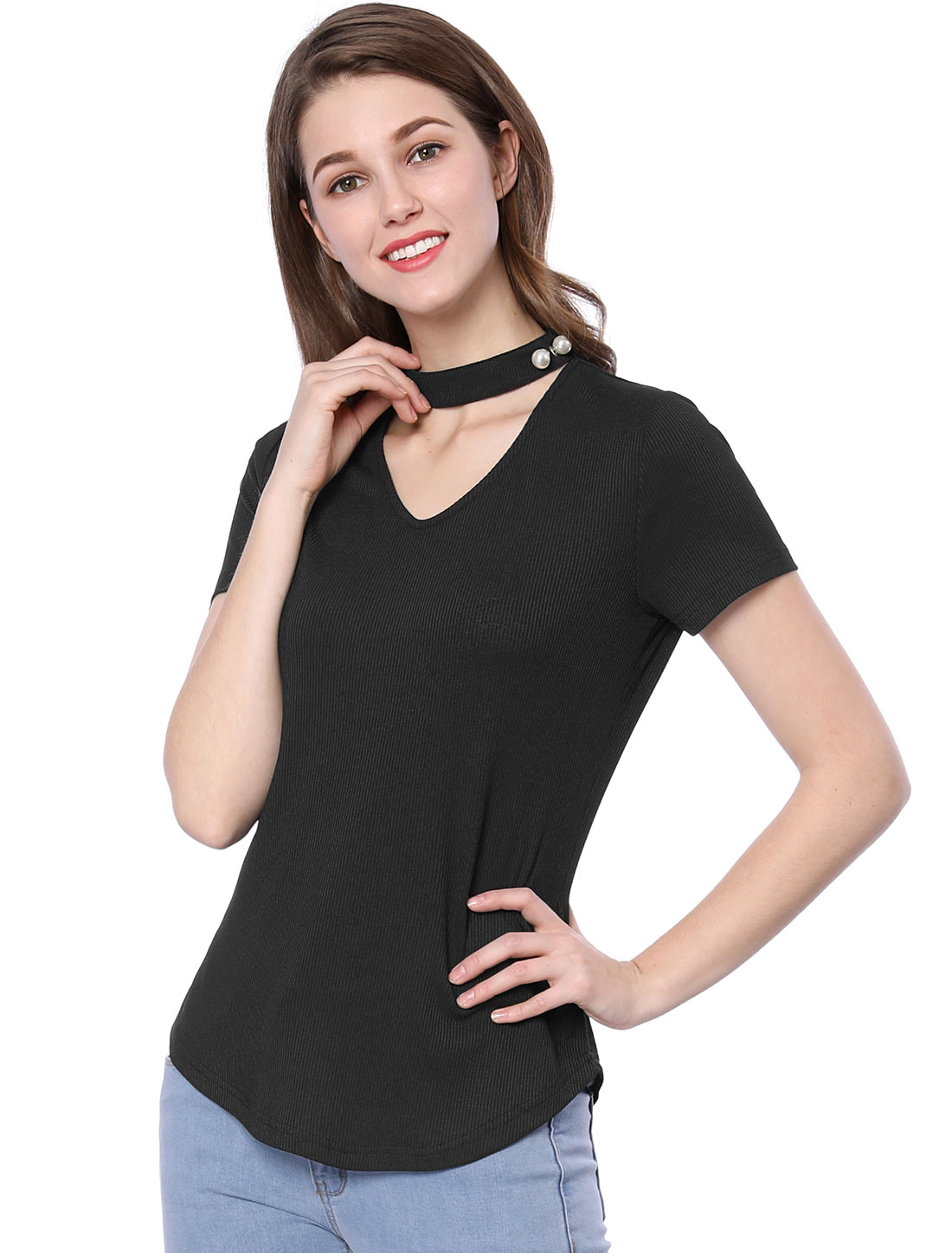 Allegra K Women Pearl Decor Choker Cut-out V-neck Ribbed Tunic Tops Black L