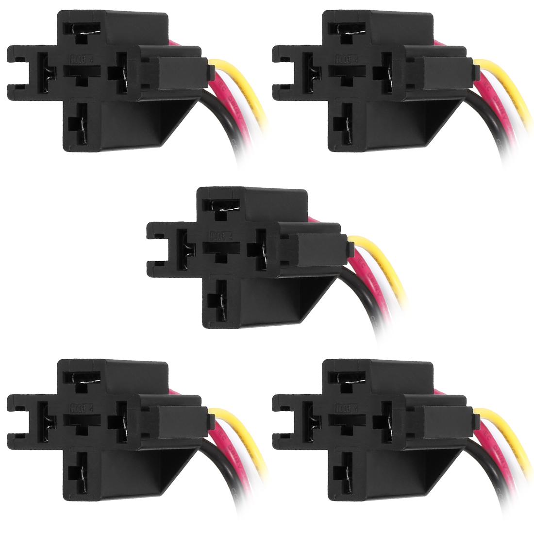 5pcs DC 12V/24V 40A 4 Terminals Relay Socket Harness Connector for Auto Car