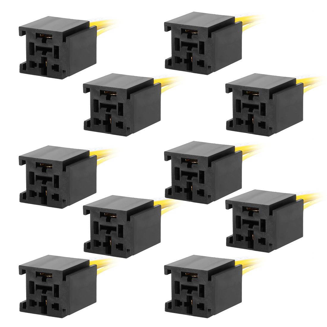 10pcs DC 12V/24V 80A 4 Terminals Relay Socket Harness Connector for Auto Car