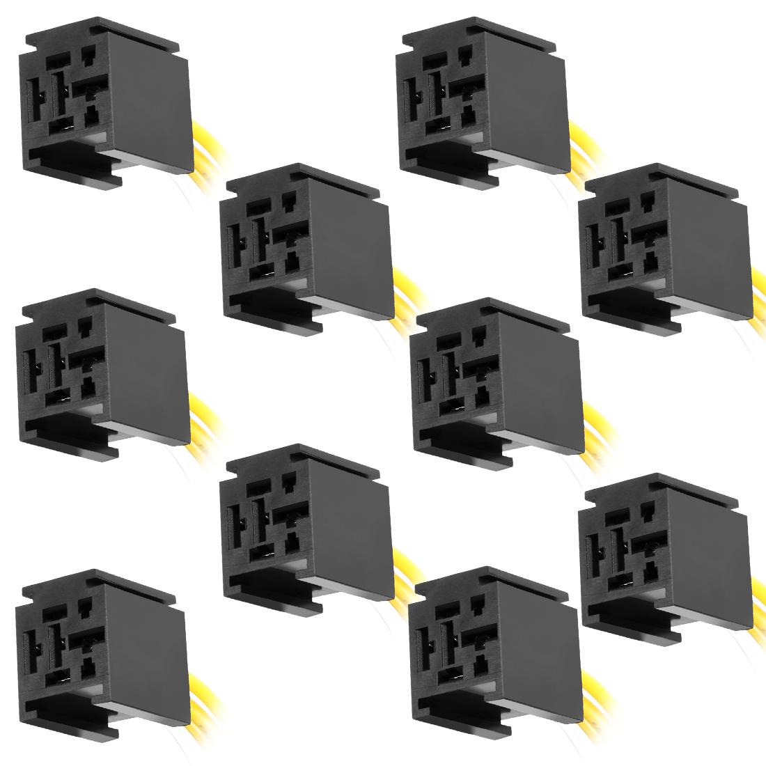 10pcs DC 12V/24V 80A 5 Terminals Relay Socket Harness Connector for Auto Car