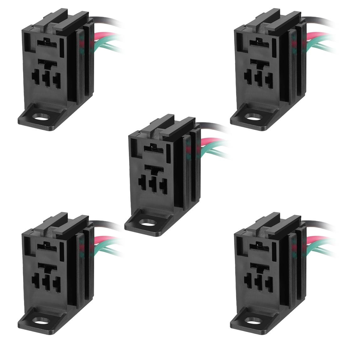 5pcs DC 12V/24V 4 Terminals Relay Socket Harness Connector for Car Truck
