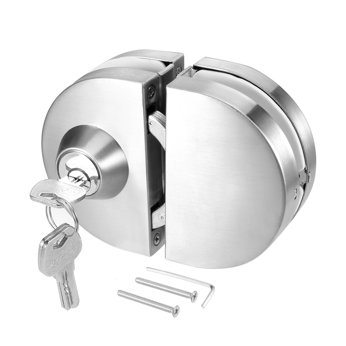 10mm-12mm Glass Door Double Latch Lock Stainless Steel Brushed Finish
