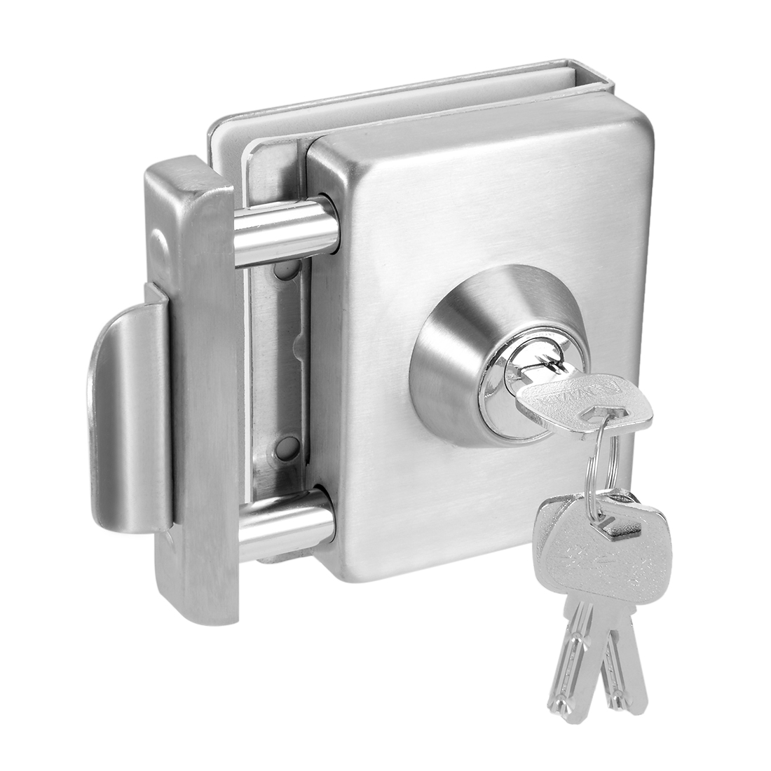10mm-12mm Glass Door Double Latch Lock Stainless Steel Brushed Finish w Keys