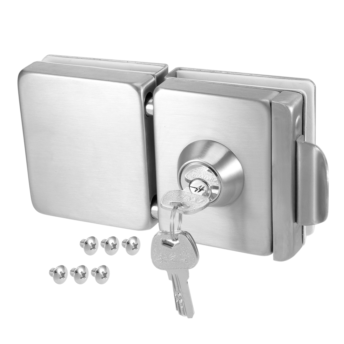10mm-12mm Glass-to-Glass Door Double Latch Lock Stainless Steel Brushed Finish