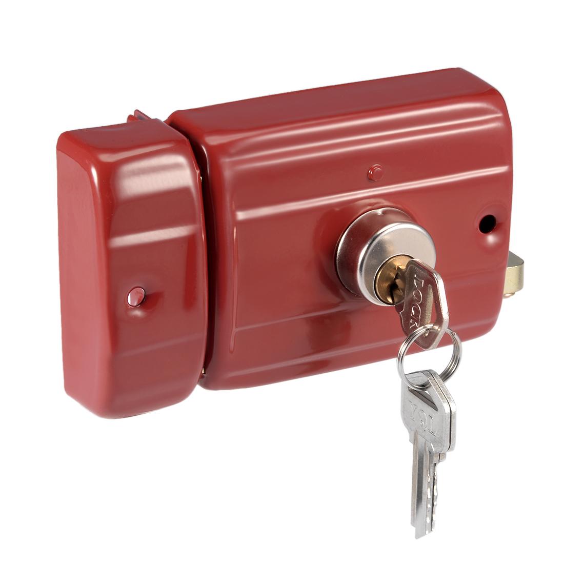 95mmx75mm Iron Brass Cylinder Left Hand Door Rim Lock w Slotted Keys