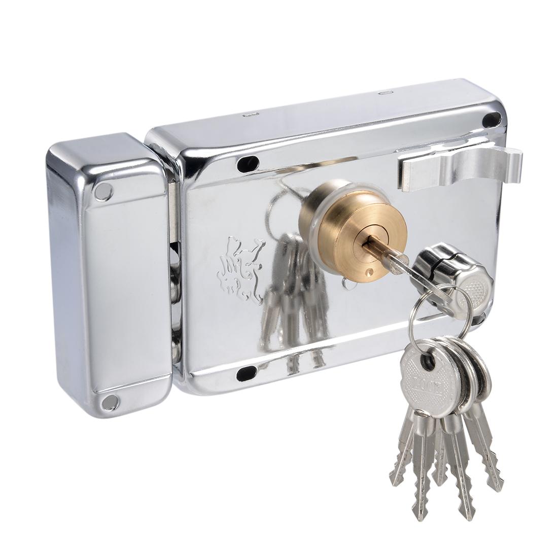120mmx85mm Iron Brass Cylinder Door Left Hand Rim Lock w Four-Sided Key