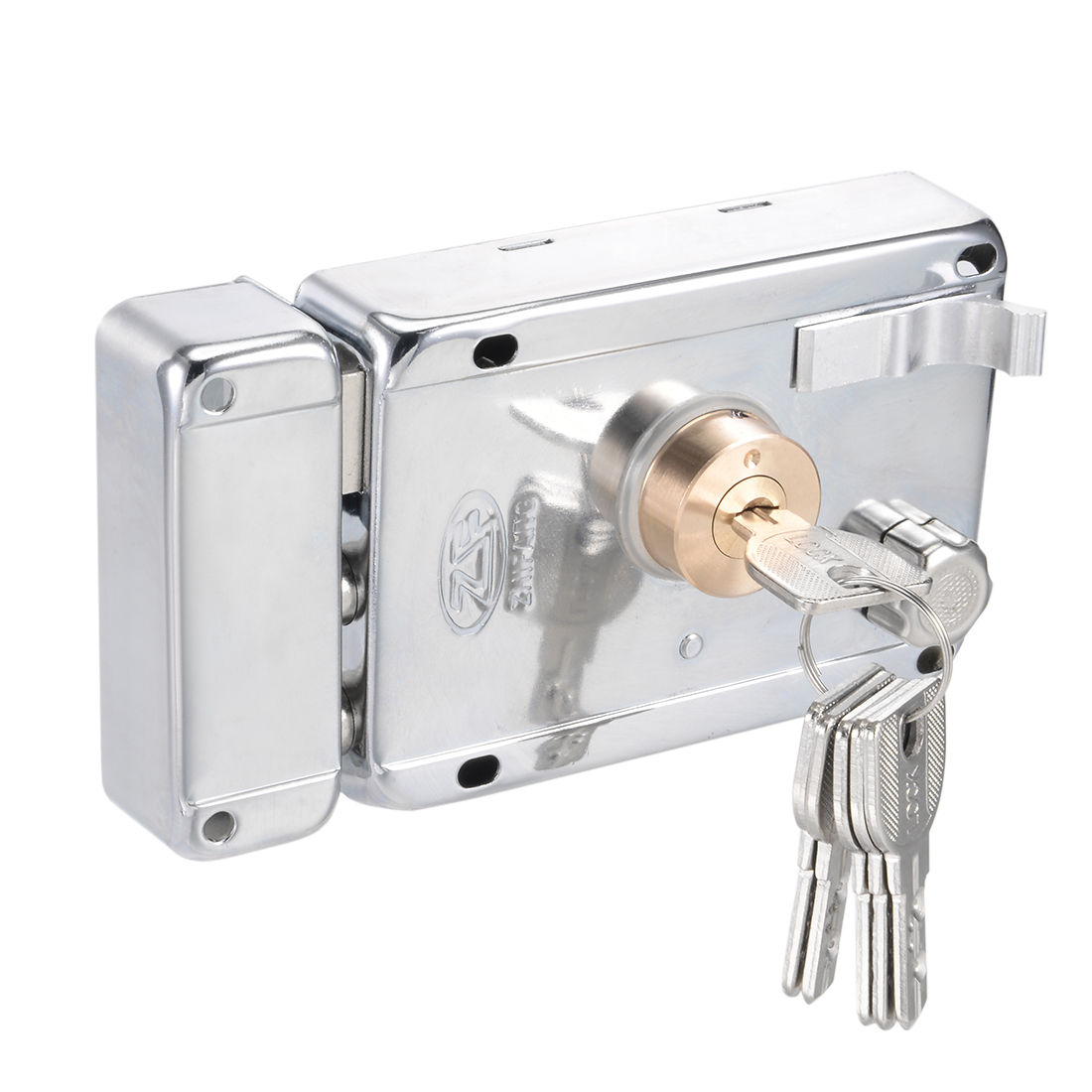 120mmx85mm Alloy Steel Brass Cylinder Door Right Hand Rim Lock w Dimple Key