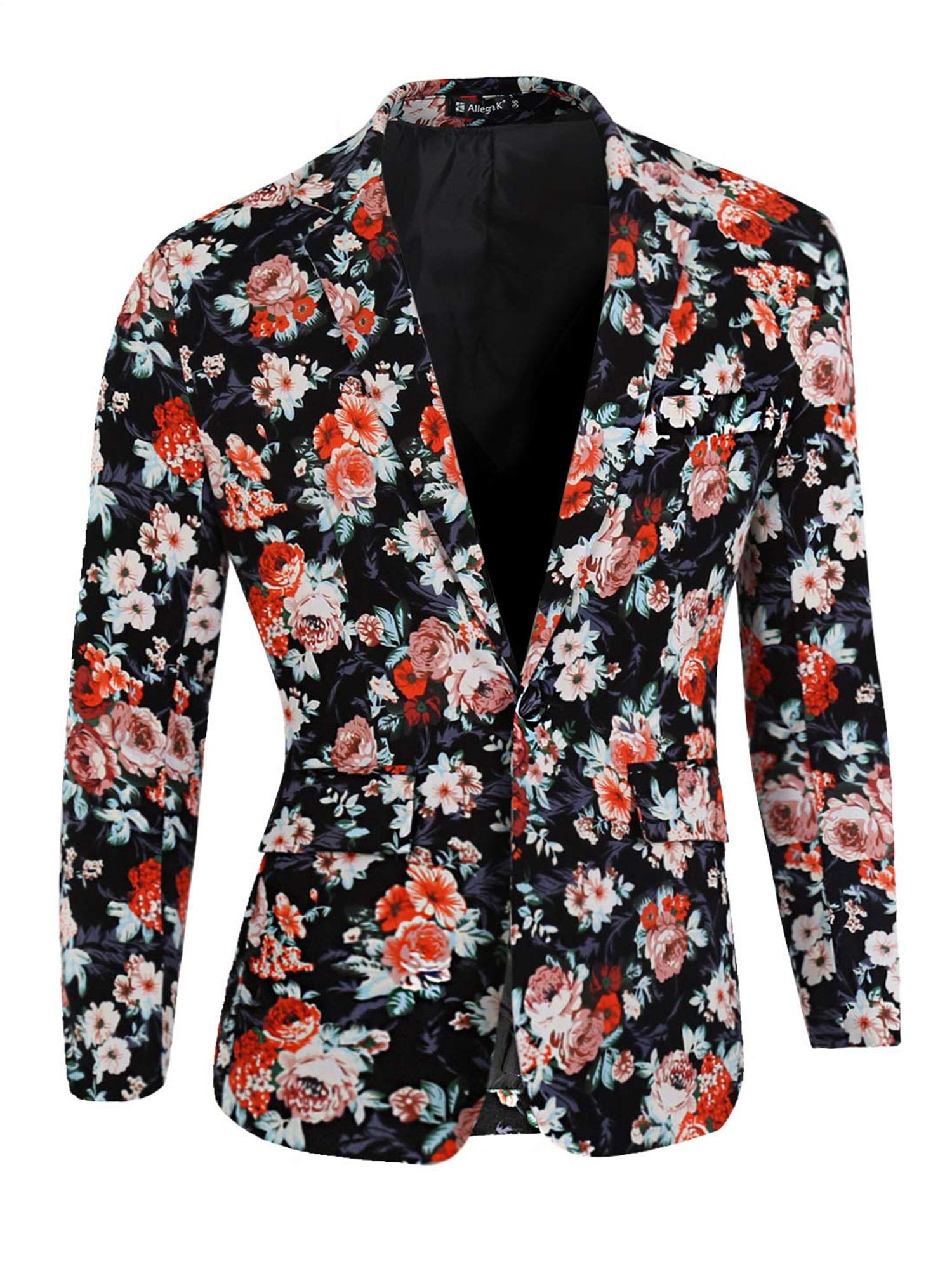 Men's Prom Floral Slim Fit Suit Blazer Jacket Black Coral Pale Pink 34