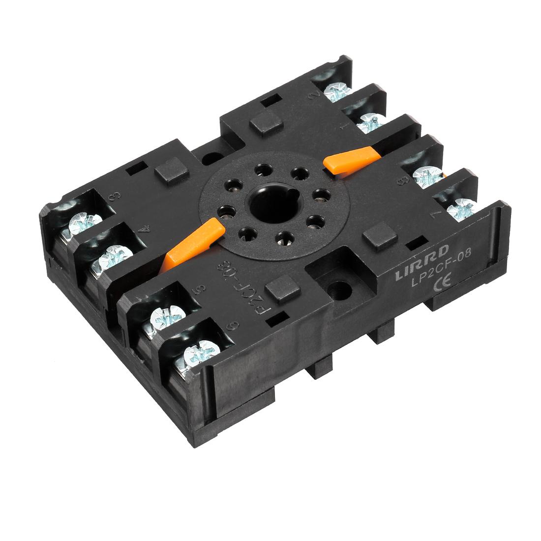 AC 250V 10A, 8P DIN Rail Mount Power Relay Socket Base Holder