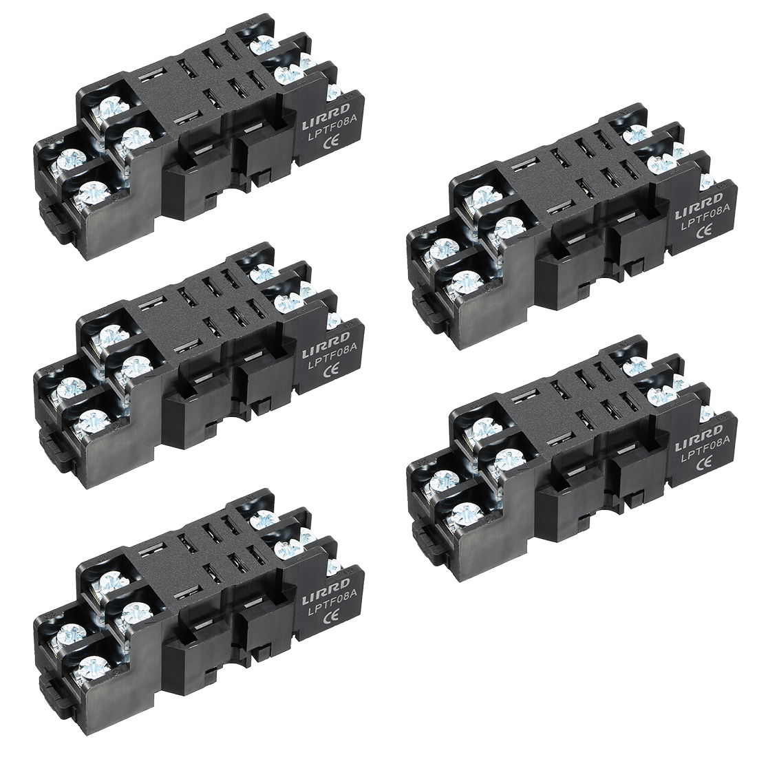 5Pcs, 10A 8P DIN Rail Mount Power Relay Socket Base Holder