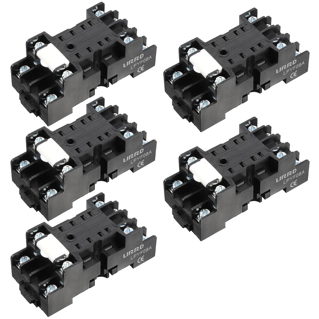 5Pcs 5A 8P DIN Rail Mount Power Relay Socket Base Holder