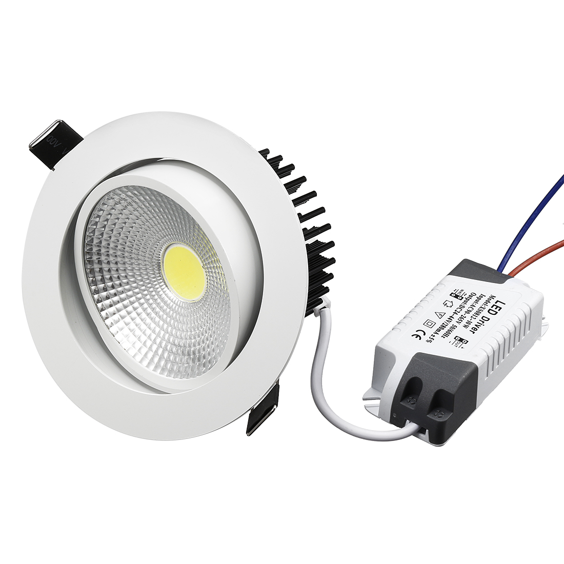 10W Recessed LED Downlight LED Ceiling Light IC Rated 6000-6500K(Pure White)