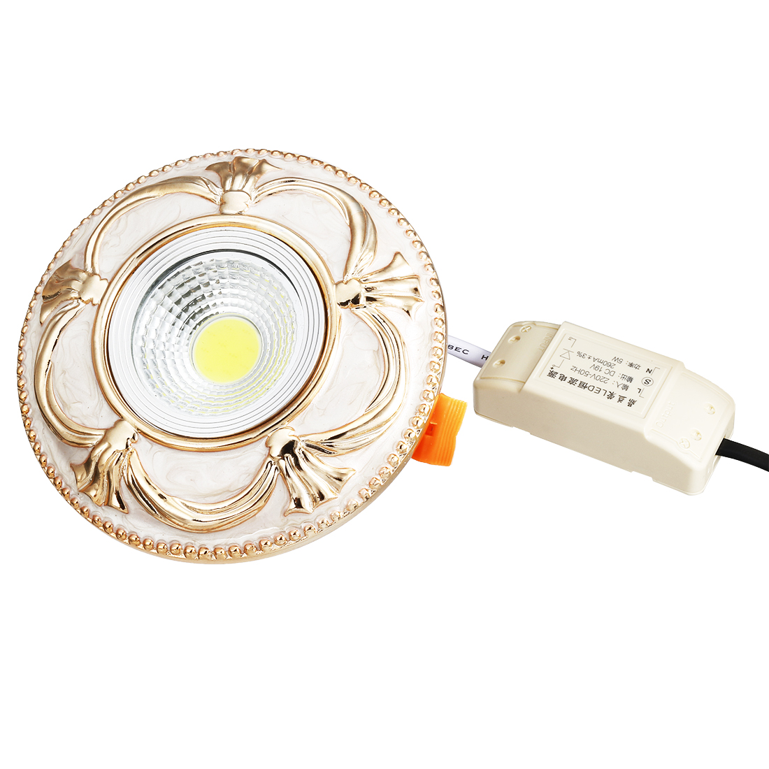 S-0018 5W 1 LEDs Round Shape Pure White Light Ceiling Lamp Downlight AC 90-250V