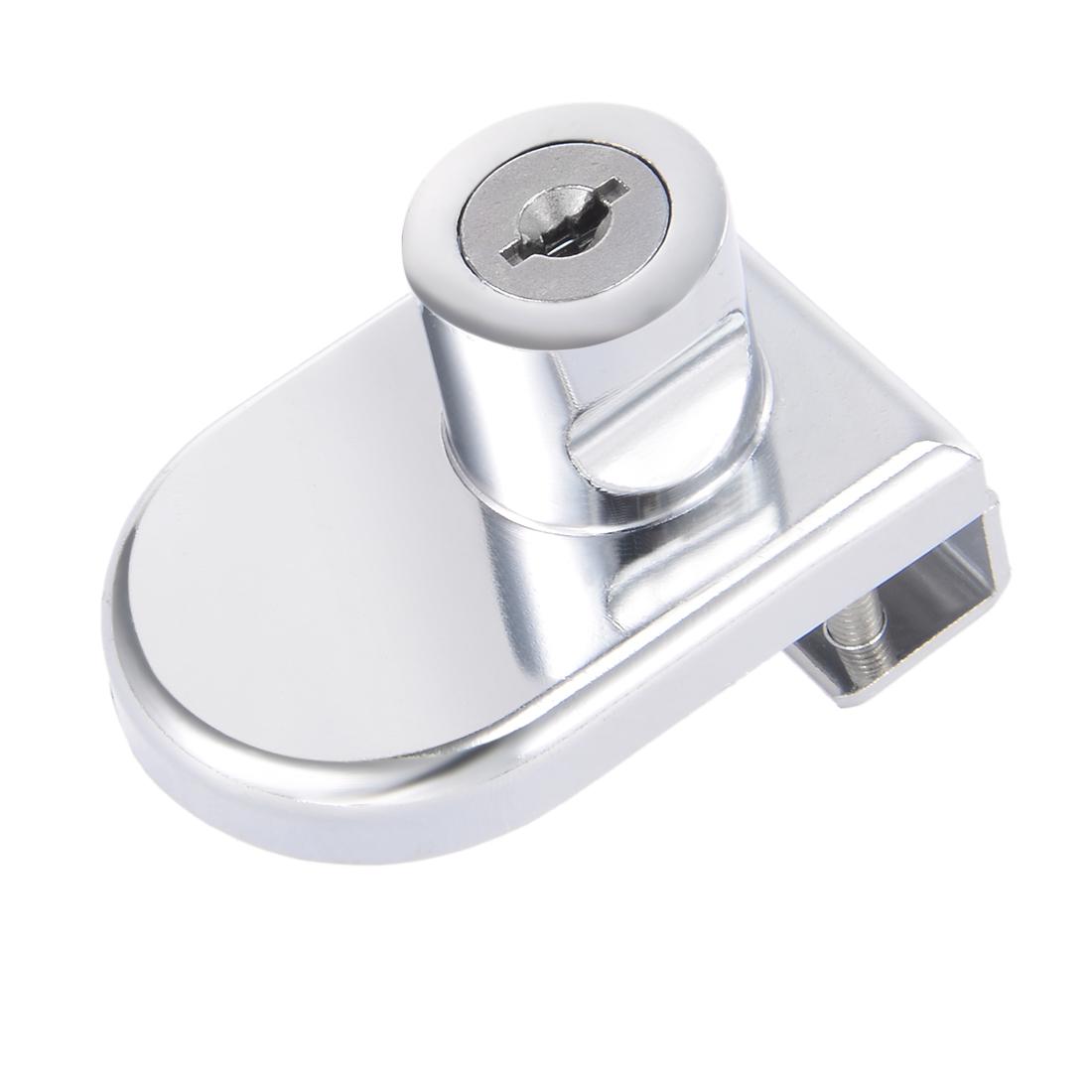 Zinc Alloy Chrome Finish Showcase Hinged Glass Cabinet Lock, Key Alike