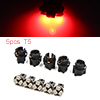 5pcs 12V T5 1206 SMD 3 LED Red Dashboard Instrument Light with Socket Internal