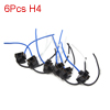 6pcs H4 Bulb 3 Wire Car Headlamp Fog Light Wired Harness Socket Connector