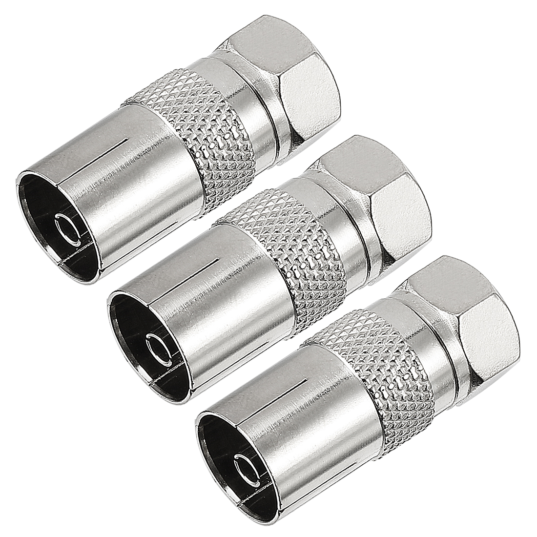 3pcs Silver Tone BSP F Male to PAL Female Jack RF Coaxial Adapter Connector